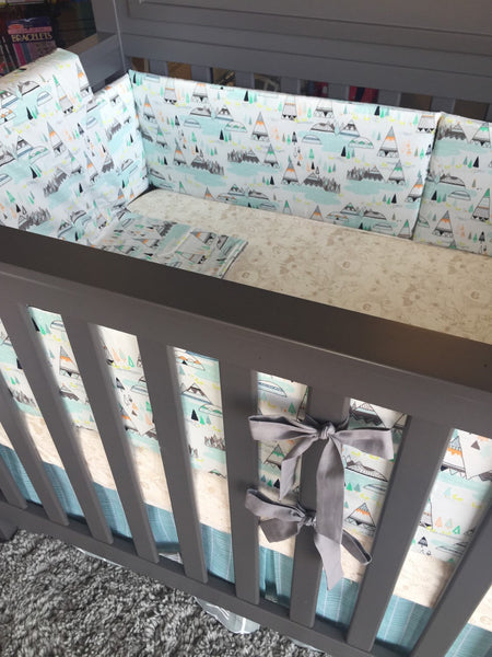 Mint Tee Pee Herringbone Woodland Animal Crib Bedding