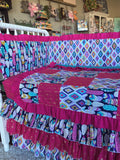 Pink Purple Jewel Gold Feather Aztec Tribal Girl Crib Bedding