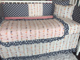 Navy Coral Arrow Tribal Aztec Girl Crib Bedding