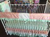 Mint, Pink Gray Grey And Gold Deer Arrow Custom Crib Bedding