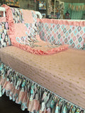 Coral Pink Gold White Feather Aztec Arrow Crib Bedding Baby Girl