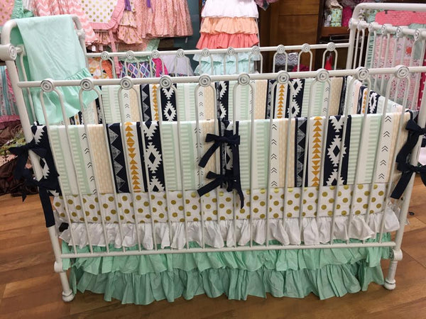 Aztec Mint Gold Polka Dot Crib Bedding