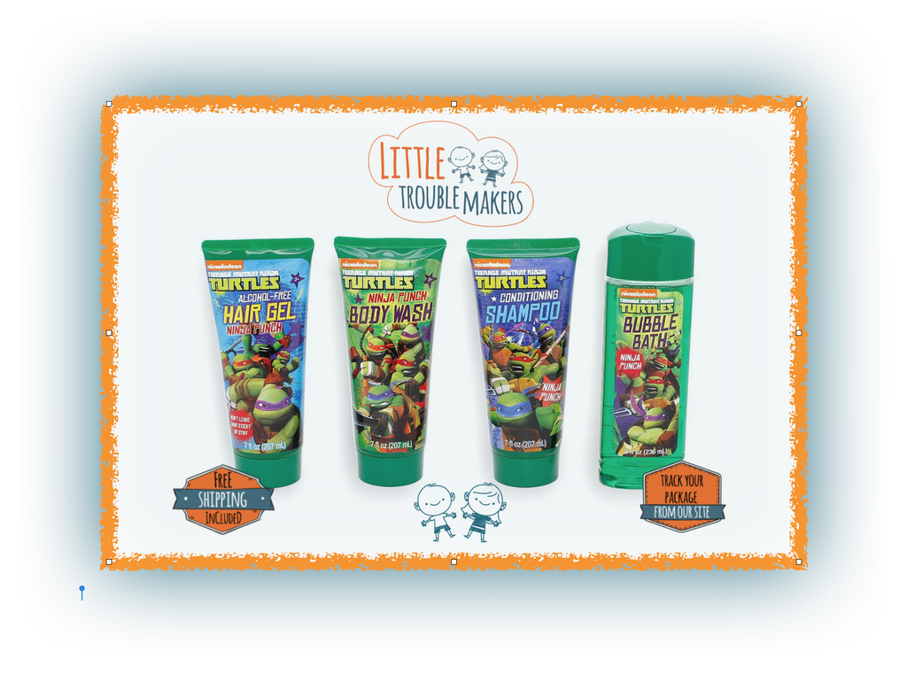 15% off & FREE SHIPPING - Ninja Turtle Body Wash Shampoo Bubble Bath Hair Gel Set