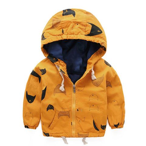 Doodle-Drawing Hooded Zip-up Jacket for Boys