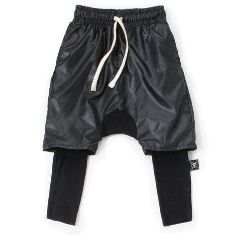 Layered Harem Shorts Over Warm Spandex Pants