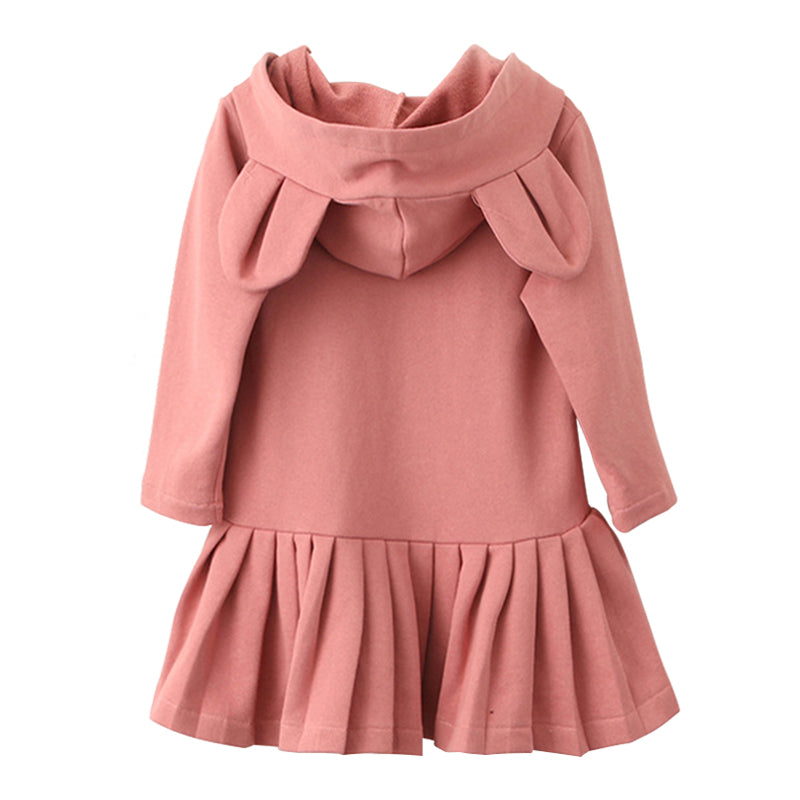Pink Rabbit Ears Hooded Long Sleeve Dress for Girls 385cbbec3