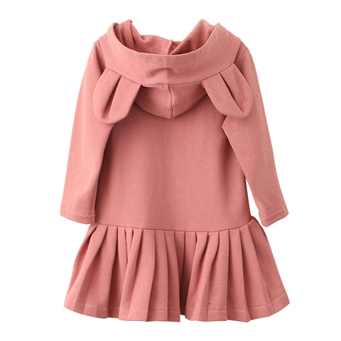 Pink Rabbit Ears Hooded Long Sleeve Dress for Girls
