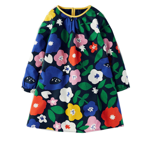 Girls Floral Long Sleeve Dress