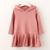 Pink Rabbit Ears Hooded Long Sleeve Dress for Girls - Little TroubleMakers | Kids Toys and Fashion
