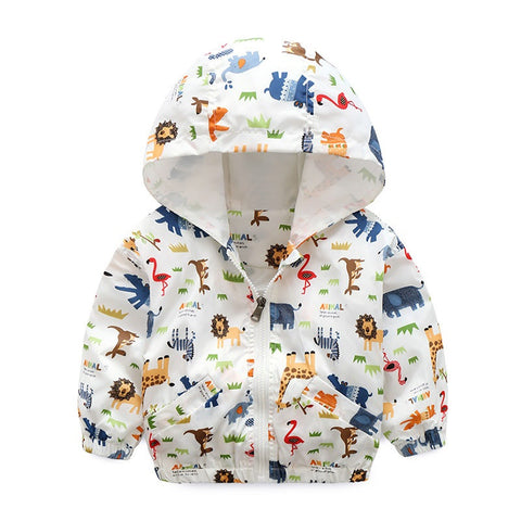 Zoo Animals Windbreaker Hooded Zip-up Jacket
