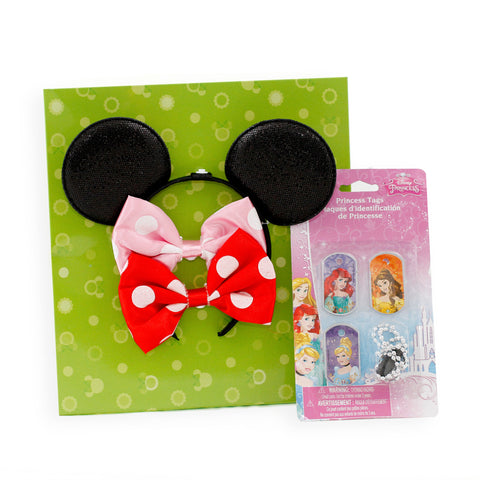 Minnie Mouse 2-Piece Interchangeable Bow Headband - 3-Piece Disney Princess Tags Necklace