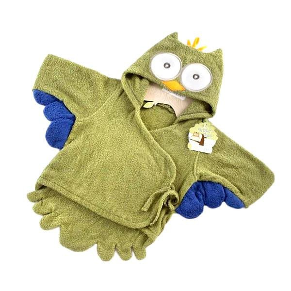 Green Owl Hooded Baby Bath Robe - Little TroubleMakers | Kids Toys and Fashion