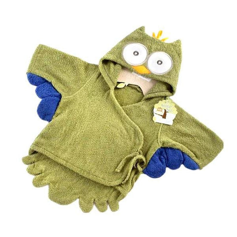 Green Owl Hooded Baby Bath Robe