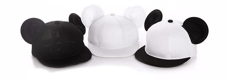 b24a412d26a Mickey Mouse Ears Snapback Mesh Hat - Little TroubleMakers