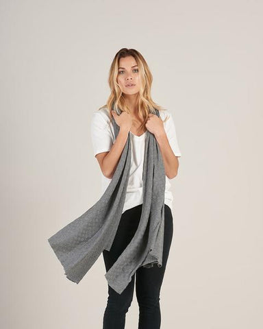 Checkered Pima Cotton Maxi Scarf