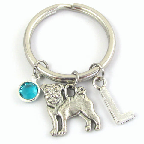 Pug Keychain with birthstone and letter