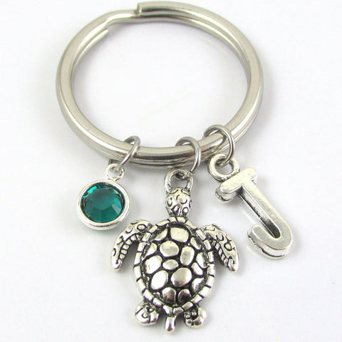 Turtle Keychain with Swarovski birthstone