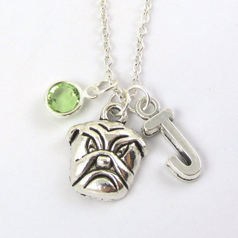 bulldog necklace with birthstone and initial
