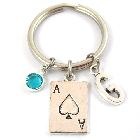 ace of spades personalized keychain