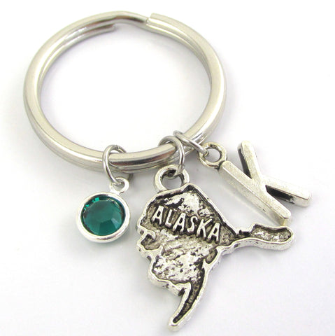 alaska keychain with birthstone and initial