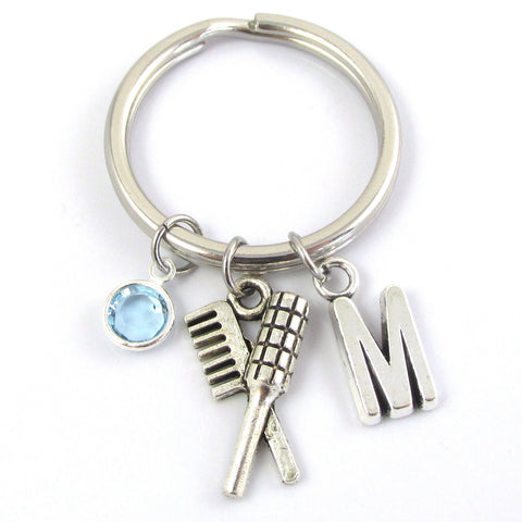 hairdresser keychain with birthstone