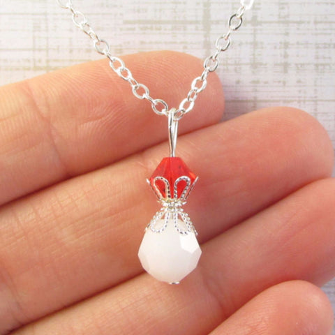 White Bead Necklace- top bead is your color choice