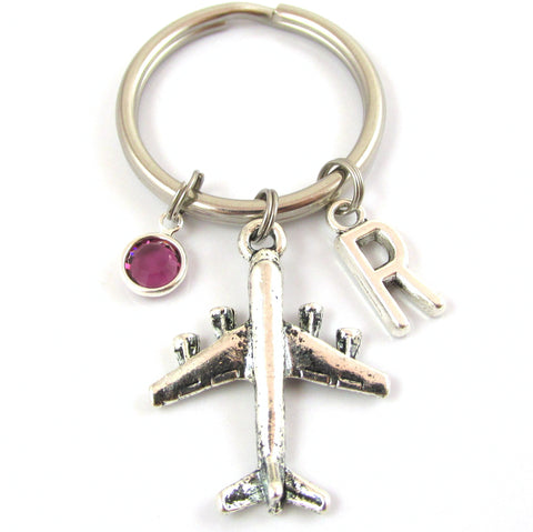 Airplane Keychain with birthstone and initial