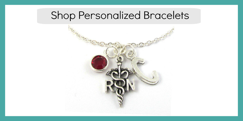 Personalized Bracelets with birthstone and initial