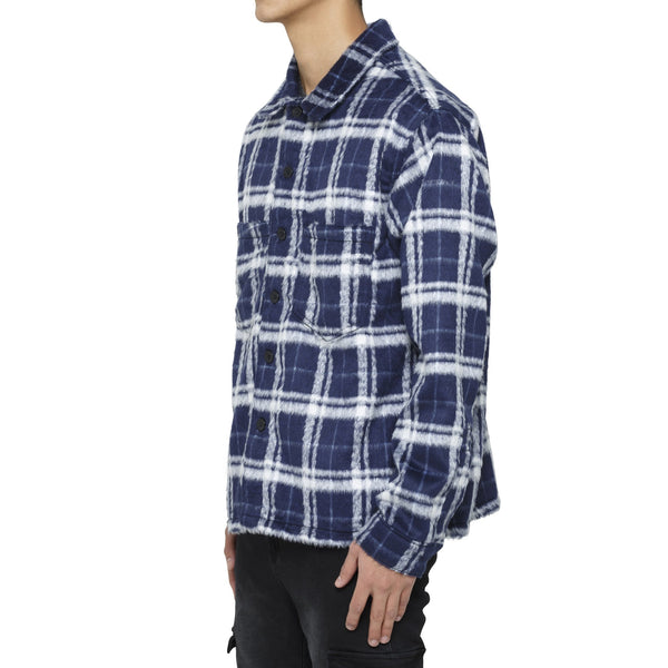 MOHAIR SHIRT - NAVY / WHITE - DSRCV
