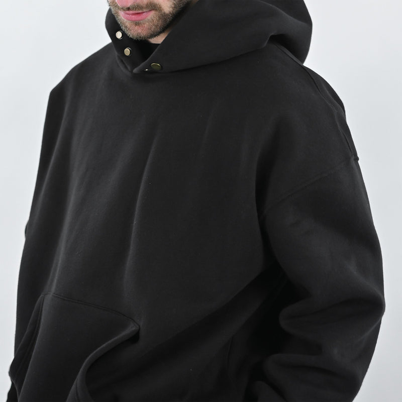 BUTTON HOODIE - JET BLACK - Destructive