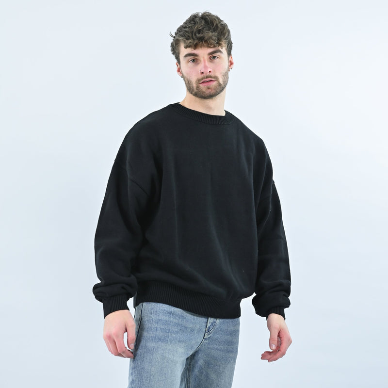 KNIT SWEATSHIRT - JET BLACK - Destructive