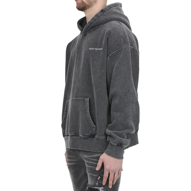 HUNT THE NIGHT HOODIE - WASHED GREY - Destructive