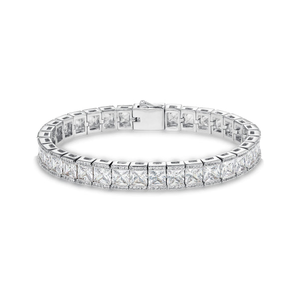 PRINCESS CUT TENNIS BRACELET - WHITE GOLD - DSRCV