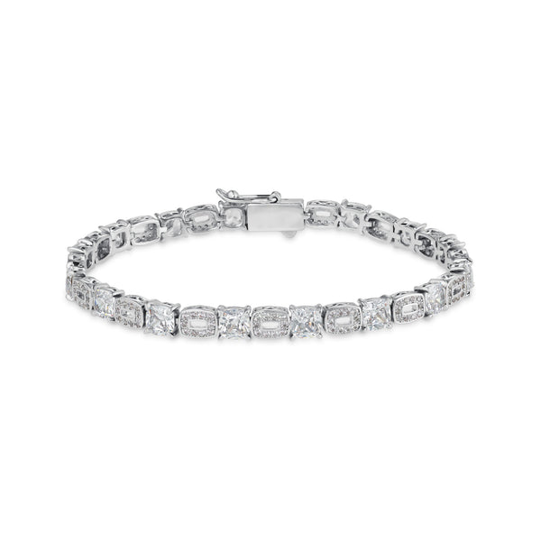 CLUSTERED TENNIS BRACELET - WHITE GOLD - DSRCV