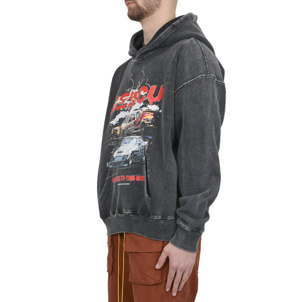 RACE TO THE END HOODIE - WASHED GREY - Destructive