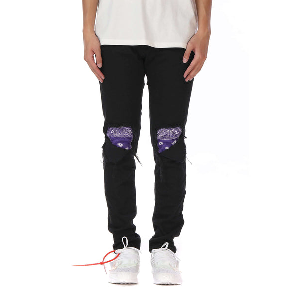 BANDANA PATCH DENIM - PURPLE