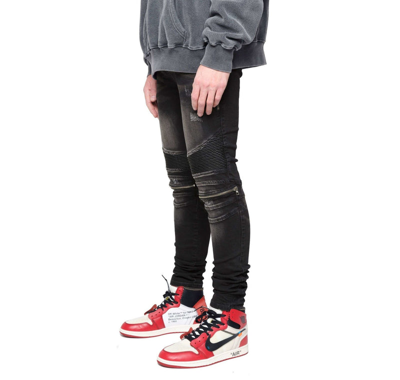 BIKER ZIP DENIM - VINTAGE BLACK - DSRCV