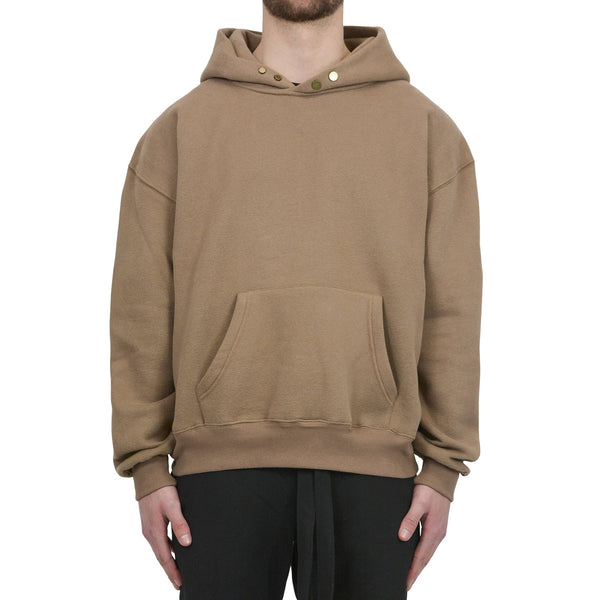 BUTTON HOODIE - BROWN - Destructive