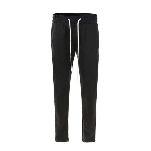 COTTON BLEND TRACK PANTS - BLACK