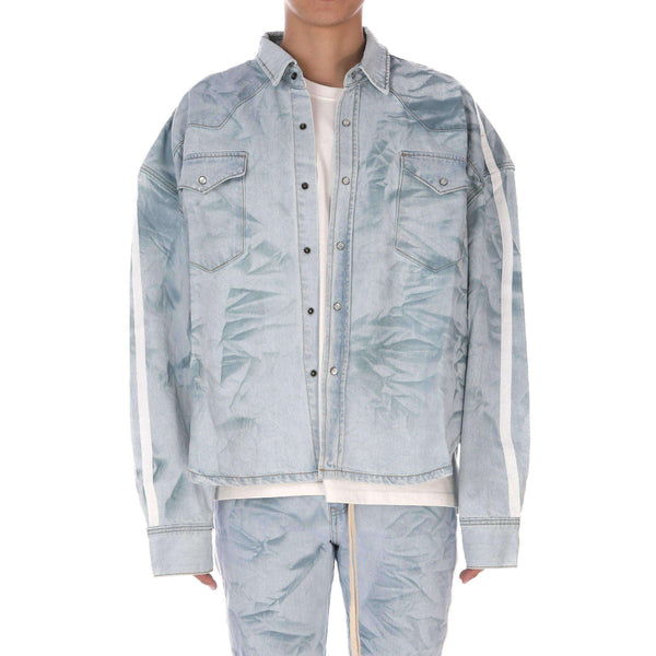 CREASED DENIM SHIRT - BLUE