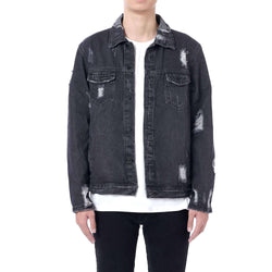 DESTROYED DENIM JACKET - BLACK