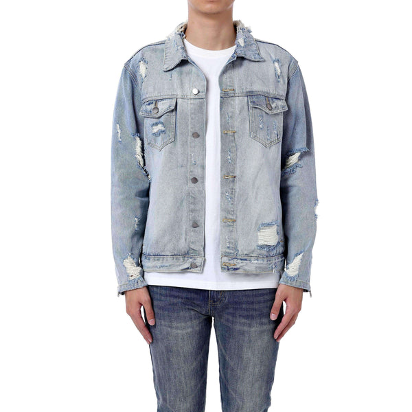 DESTROYED DENIM JACKET - BLUE