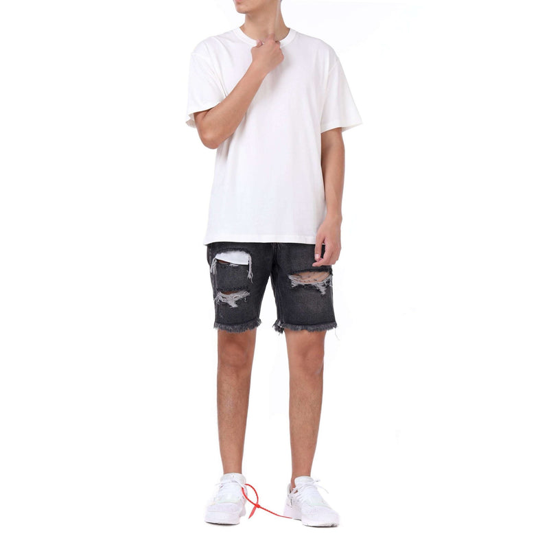 DESTROYED DENIM SHORTS - BLACK - DSRCV
