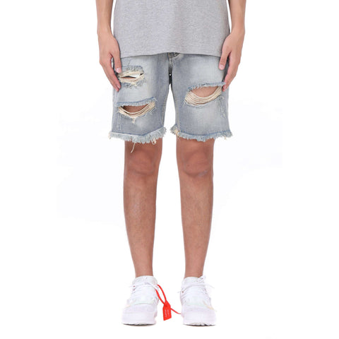 DESTROYED DENIM SHORTS - BLUE