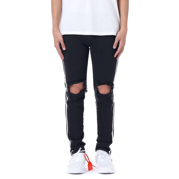 DESTROYED RETRO DENIM V2 - BLACK / WHITE