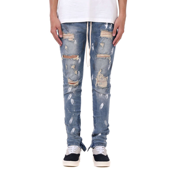 DESTROYED SPLATTER DENIM - BLUE