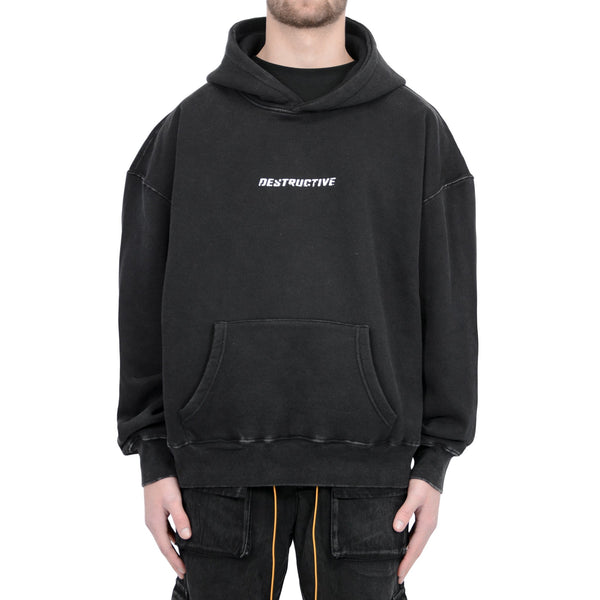 LOGO HOODIE - WASHED BLACK - Destructive