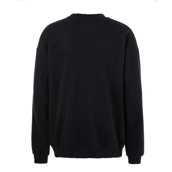 DISTRESSED SWEATSHIRT - BLACK