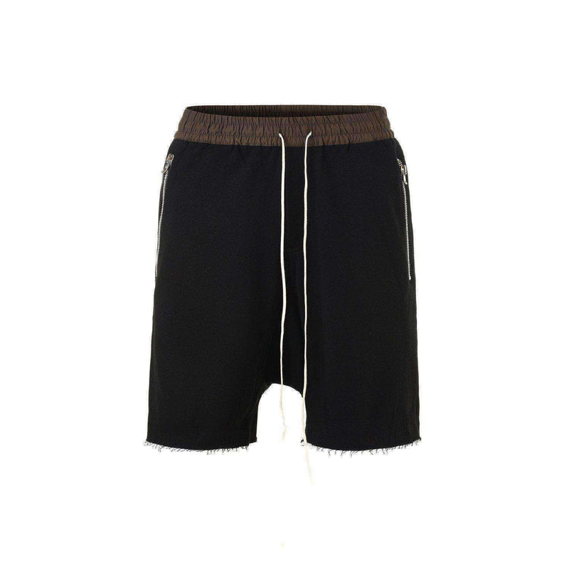 DROP CROTCH ZIPPED SHORTS - BLACK