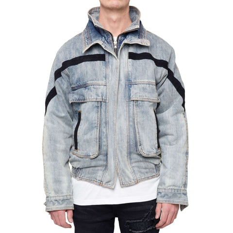 QUILTED DENIM JACKET - GREY